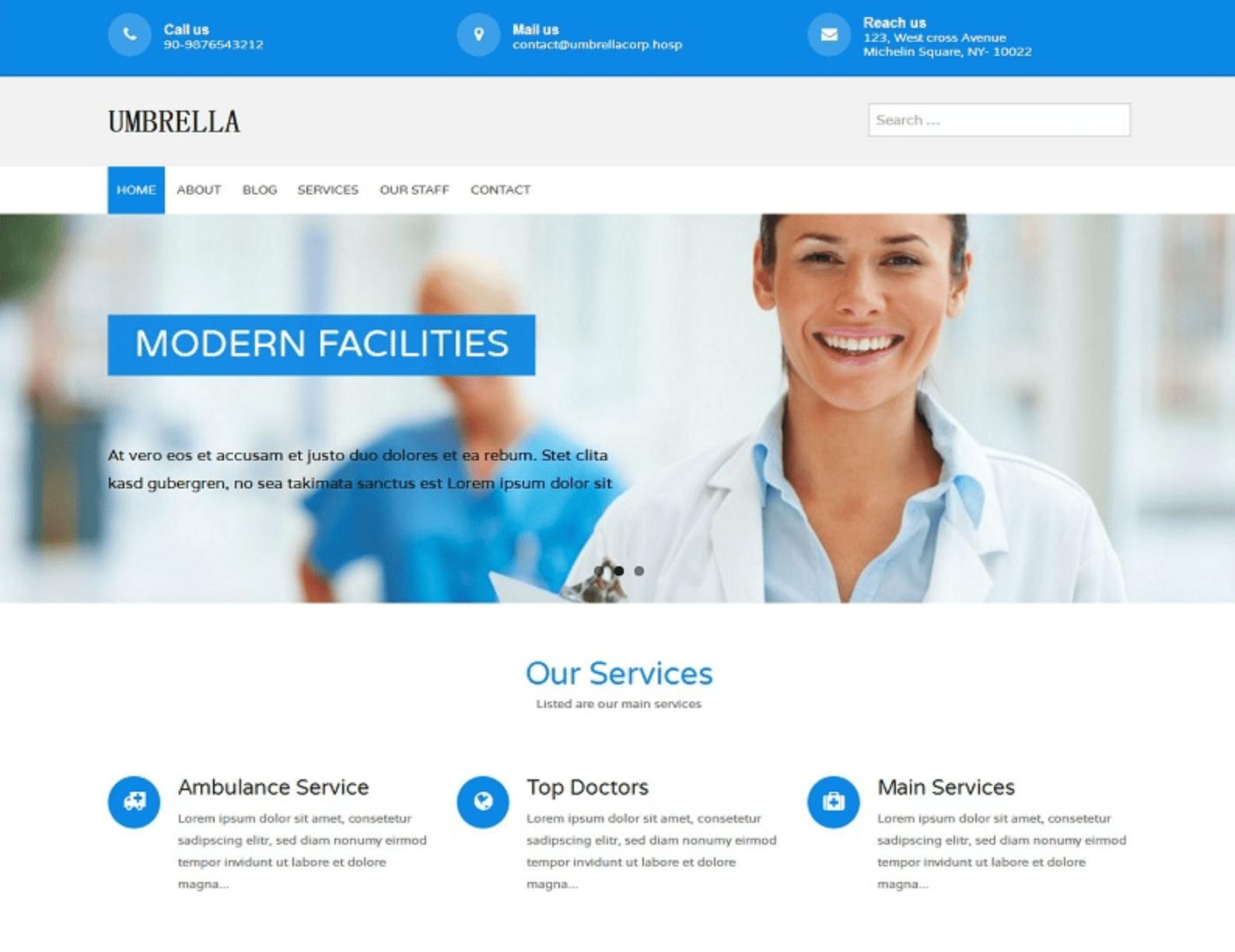 适合医疗行业网站的WordPress主题:Umbrella